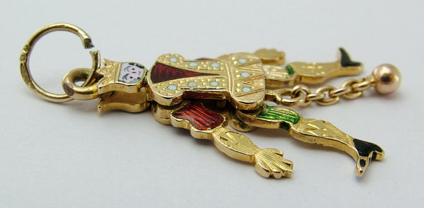 Antique Victorian c1900 Articulated 18ct 18k Gold & Enamel Jester Charm Antique Charm - Sandy's Vintage Charms