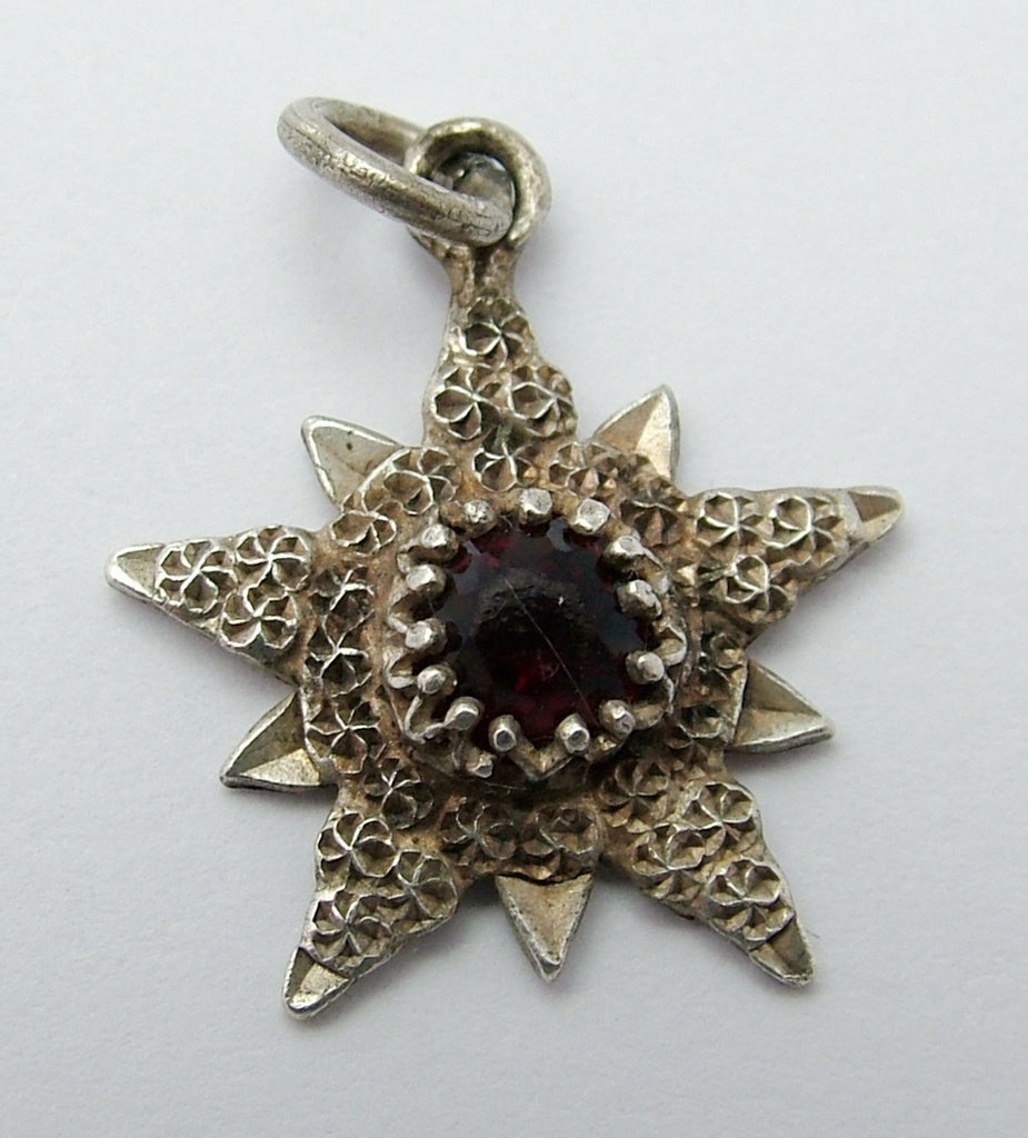 Antique Edwardian Silver & Faux Garnet Charles Horner Star Charm HM 1905 Antique Charm - Sandy's Vintage Charms
