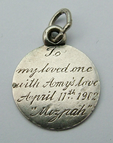 Antique Victorian Silver Engraved Love Token Coin Charm TO MY LOVED ONE... Love Token - Sandy's Vintage Charms