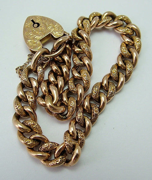 Edwardian Hollow 9ct Rose Gold Patterned Padlock & Bracelet Bracelet - Sandy's Vintage Charms
