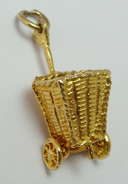 Large 1970's 9ct Gold Wicker Shopping Basket Trolley Charm Moving Wheels Gold Charm - Sandy's Vintage Charms