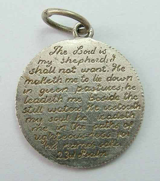 Antique Victorian Silver Love Token Coin Charm Stamped with The 23rd Psalm Love Token - Sandy's Vintage Charms