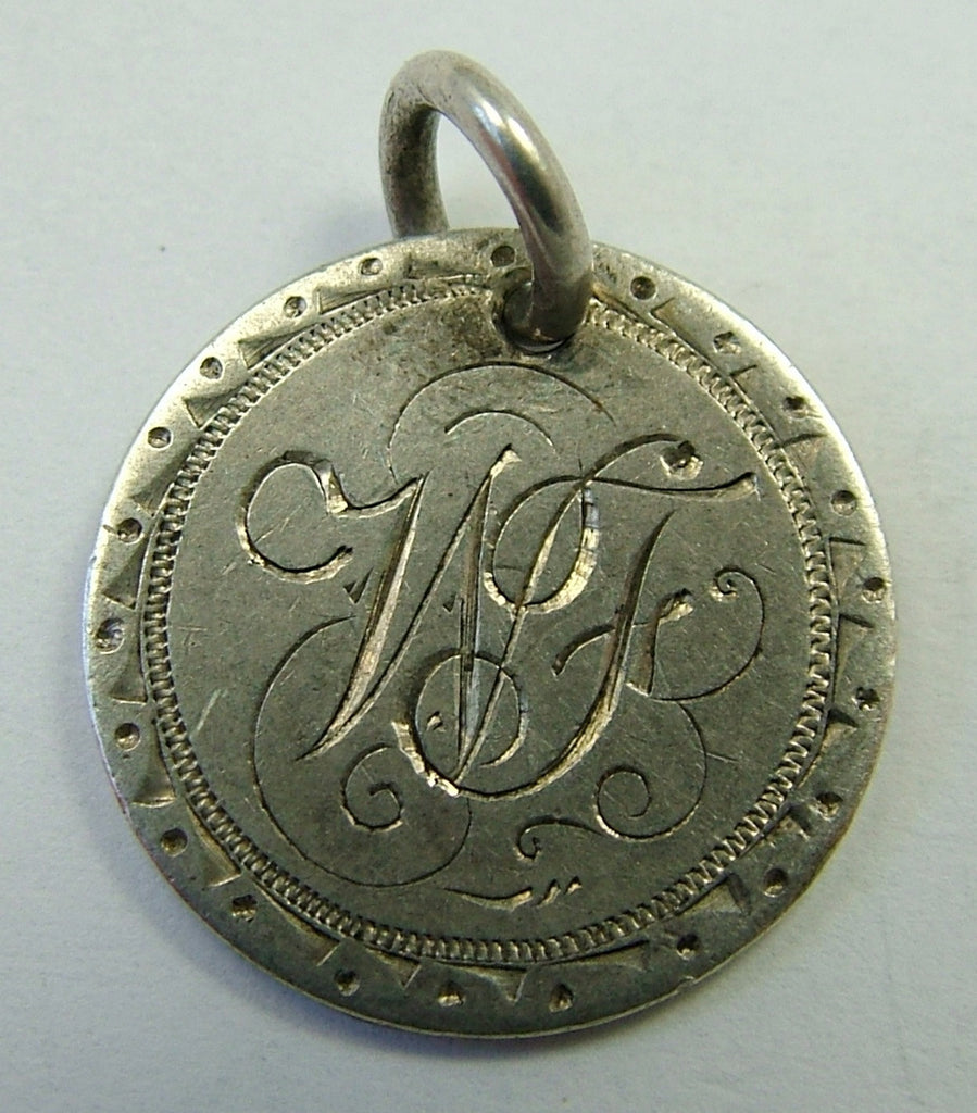 Victorian Silver Engraved Love Token Coin Charm WF Love Token - Sandy's Vintage Charms