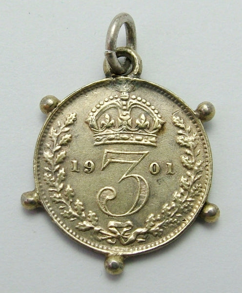 Antique Victorian 1901 Silver Love Token Coin Charm with Ball Decoration Love Token - Sandy's Vintage Charms