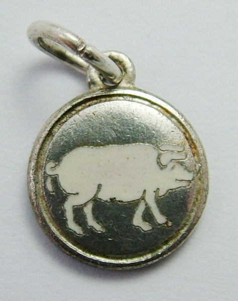 Small Vintage 1930's Silver Plated & Enamel Pig Charm