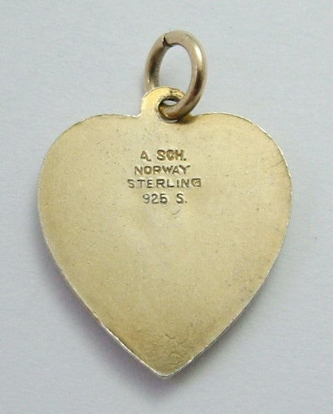 Vintage 1960's Norwegian Silver Gilt & Guilloche Enamel Heart Charm with Pink Rose Enamel Charm - Sandy's Vintage Charms