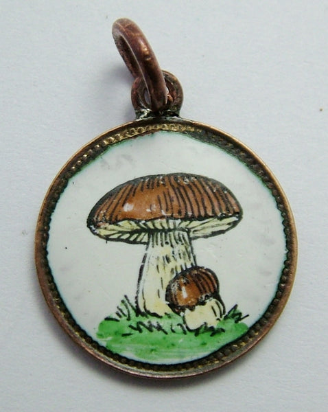 Antique Edwardian 1901 Copper & Enamel Toadstool Coin Charm Antique Charm - Sandy's Vintage Charms