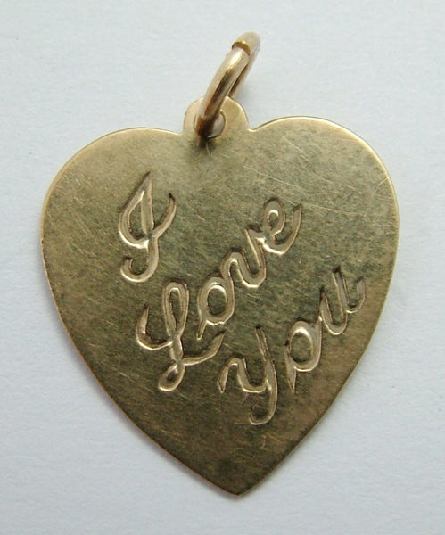 Vintage 1970's 9ct Gold 'I Love You' Heart Charm Gold Charm - Sandy's Vintage Charms
