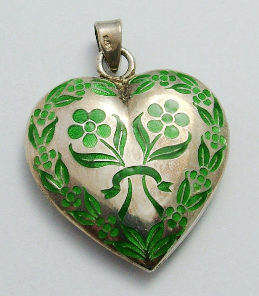 Large Vintage 1970's Silver & Green Enamel Puffed Heart Charm or Pendant Enamel Charm - Sandy's Vintage Charms