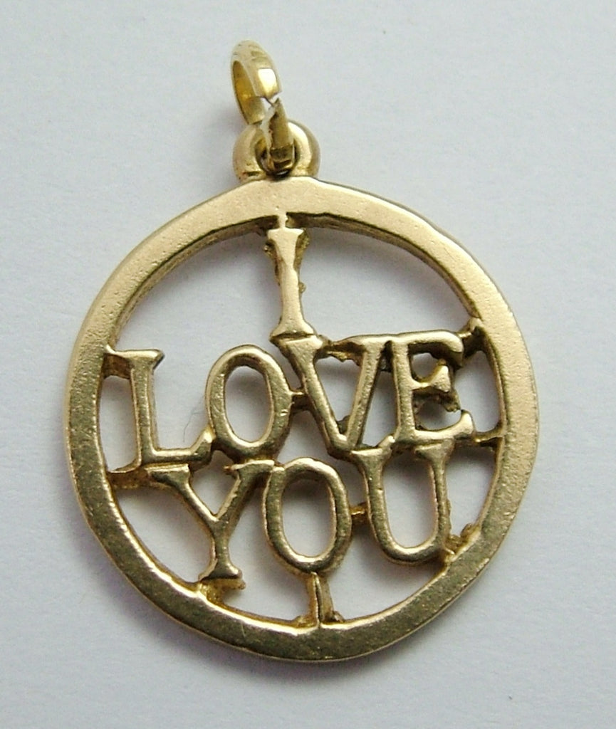 Vintage 1960's 9ct Gold Cut Out 'I Love You' Charm Gold Charm - Sandy's Vintage Charms