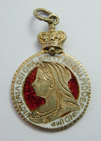 Antique Victorian Silver Gilt & Enamel Threepence Coin Charm 1897 Victorian Charm - Sandy's Vintage Charms