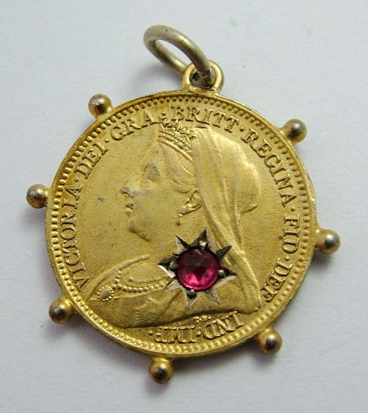 Antique Victorian 1901 Silver Gilt Gem Set Love Token Coin Charm with Ball Decoration