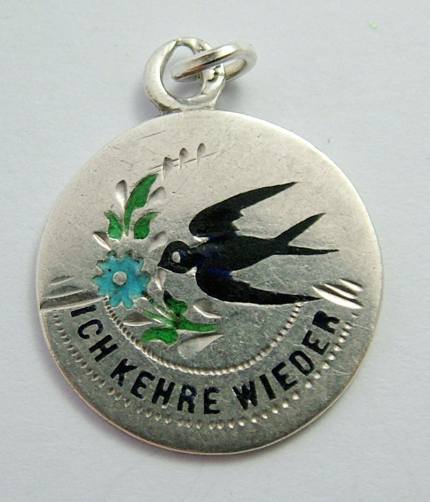 "Antique Edwardian Silver & Enamel ""I Will Return"" Swallow & Forget-me-not Charm Antique Charm - Sandy's Vintage Charms"