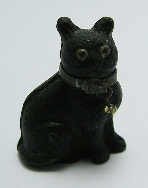 Antique c1910-1920's Lucky Black Frosted Czech Glass Cat Charm Antique Charm - Sandy's Vintage Charms