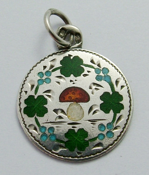 Antique Edwardian c1910 Silver & Enamel Lucky Clover, Toadstool & Forget me Not Charm Antique Charm - Sandy's Vintage Charms