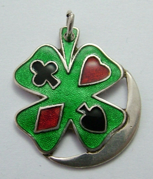Large Vintage 1950's/60's Silver & Enamel Four Leaf Clover, Playing Card Suits & Crescent Moon Charm Enamel Charm - Sandy's Vintage Charms
