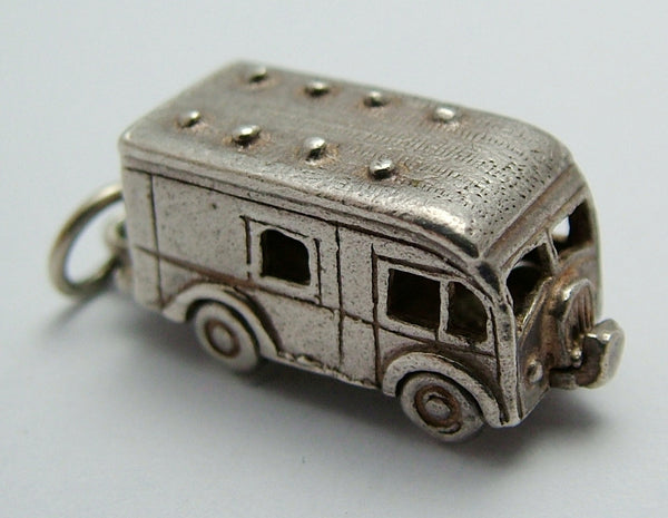 1960's Silver Opening Horsebox Charm Horse Inside