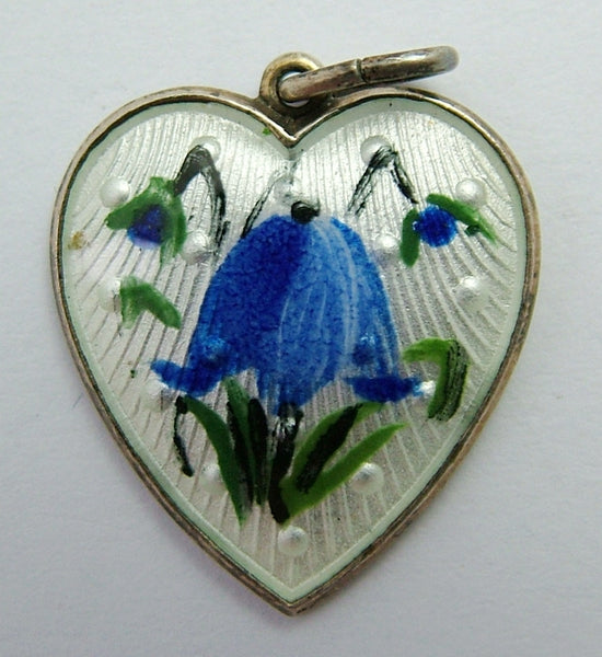 Vintage 1960's Scandinavian Silver Gilt & Guilloche Enamel Bluebell Heart Charm with Lord's Prayer Enamel Charm - Sandy's Vintage Charms