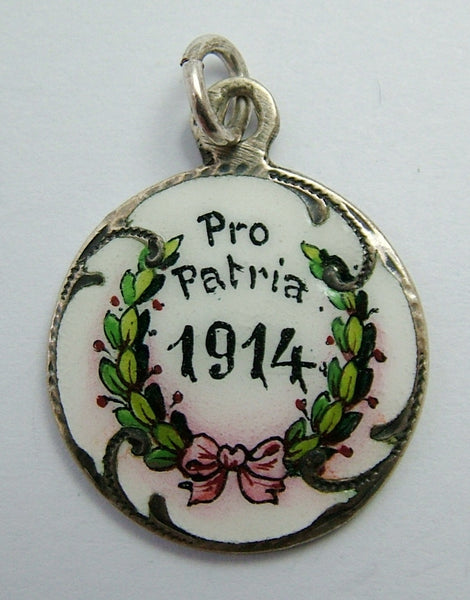 "Antique WWI Silver & Enamel ""Pro Patria 1914"" Disc Charm with Laurel Wreath Antique Charm - Sandy's Vintage Charms"