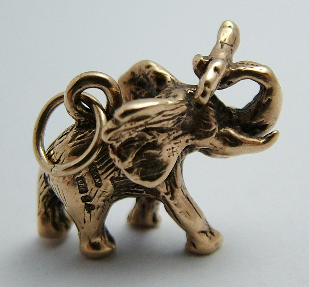 Vintage 1980's Solid 9ct Gold Elephant Charm with Log in Trunk Gold Charm - Sandy's Vintage Charms