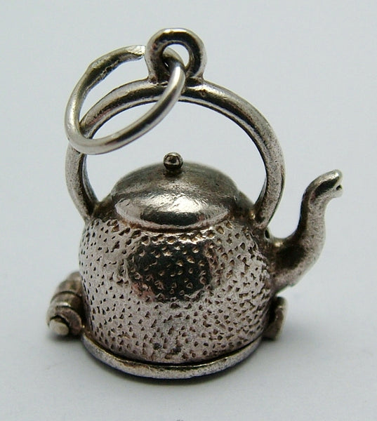 1960's Silver Opening Kettle Charm with Fish Inside Silver Charm - Sandy's Vintage Charms