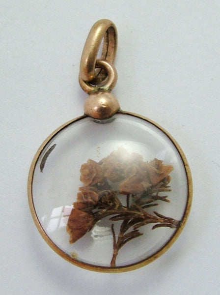 Antique Edwardian Rose Gold Plated Lucky Heather Locket Charm Antique Charm - Sandy's Vintage Charms