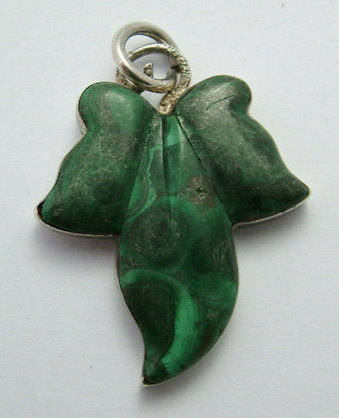 Antique Victorian c1890 Silver & Malachite Ivy Leaf Charm Victorian Charm - Sandy's Vintage Charms