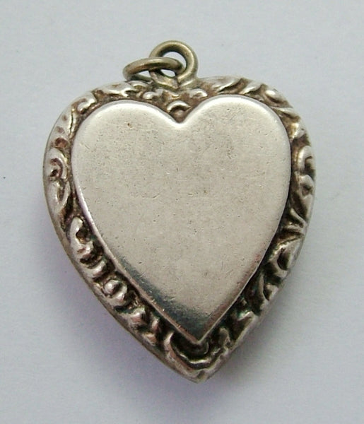 Large Vintage 1920's/30's Silver Puffy Heart Charm with Repousse Decoration 1920s-1950s Charm - Sandy's Vintage Charms
