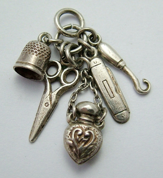 Antique Victorian c1897 Silver Miniature Chatelaine Charms - Perfume, Buttonhook, Thimble etc. Antique Charm - Sandy's Vintage Charms