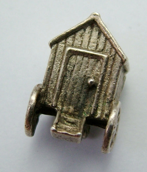 1960's Silver Opening Bathing Hut Charm Naked Lady Inside Silver Charm - Sandy's Vintage Charms
