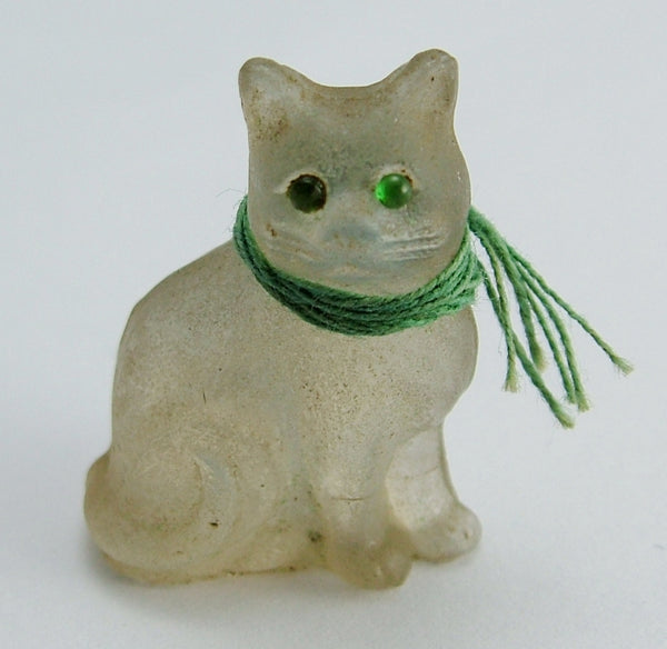 Antique c1910-1920's Opaline Frosted Czech Glass Cat Charm Antique Charm - Sandy's Vintage Charms