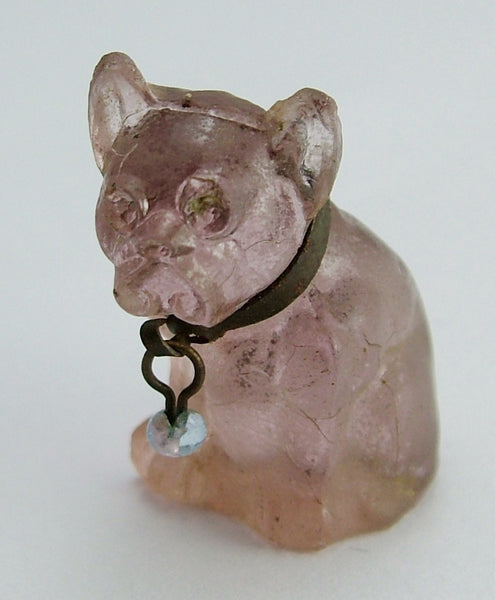 Antique c1910-1920's Pale Pink Frosted Czech Glass Bulldog Charm