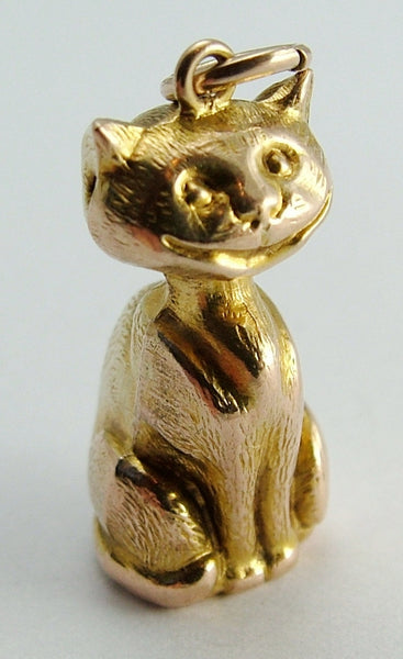 Antique Edwardian 9ct Gold Puffed (Hollow) Grinning Cheshire Cat Charm