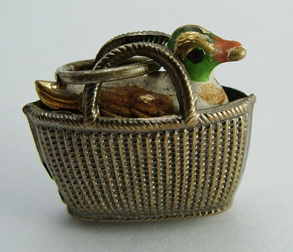 Antique Edwardian Painted Brass Duck in a Basket Charm Antique Charm - Sandy's Vintage Charms