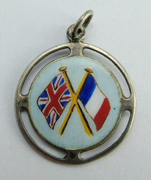 Antique WWI Silver & Enamel French & UK Flags Disc Charm HM 1914
