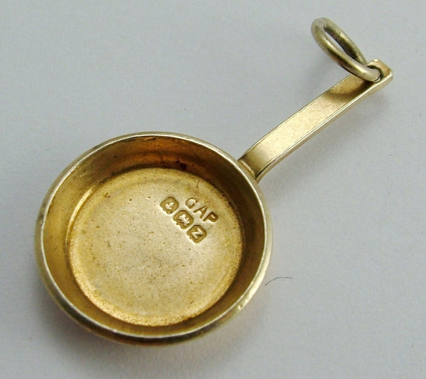 Vintage 1940's Silver Gilt Frying Pan Charm HM 1949 1920s-1950s Charm - Sandy's Vintage Charms