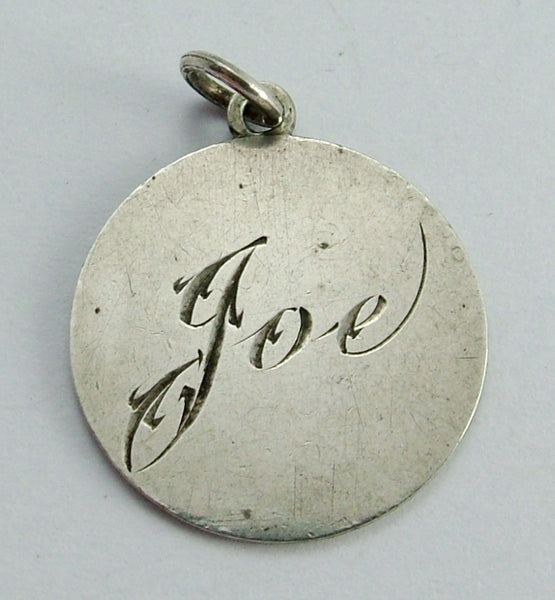 Antique Victorian Silver Engraved Love Token Coin Charm JOE Love Token - Sandy's Vintage Charms