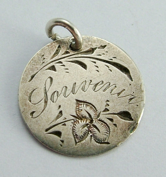 Antique Victorian Silver Engraved LEAF Pictorial Love Token Coin Charm Love Token - Sandy's Vintage Charms