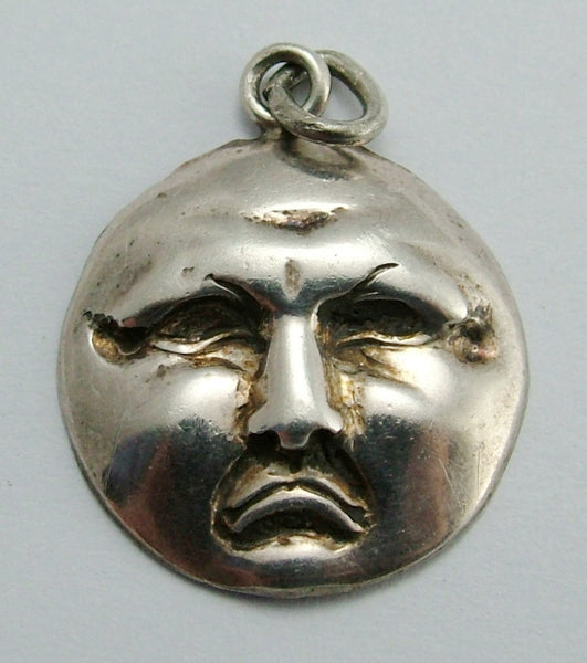 Vintage 1970's Pressed Silver Sad Moon Face Charm Silver Charm - Sandy's Vintage Charms