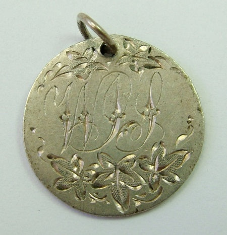 Antique Victorian Silver Engraved Love Token Coin Charm With Ivy Leaves & WJS Love Token - Sandy's Vintage Charms