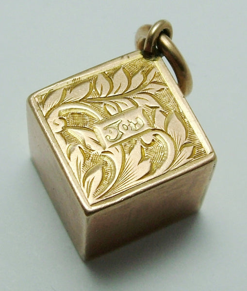 Antique Edwardian 9ct Rose Gold Hollow Decorative Cube Charm Antique Charm - Sandy's Vintage Charms