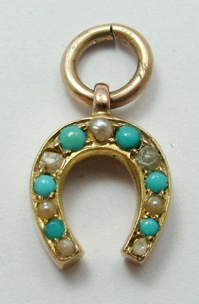 Antique Victorian c1900 15ct Rose Gold, Pearl & Turquoise Horseshoe Charm Antique Charm - Sandy's Vintage Charms