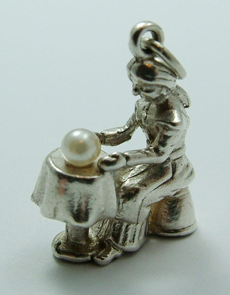 1970's Silver Fortune Teller Charm with Faux Pearl Crystal Ball Silver Charm - Sandy's Vintage Charms