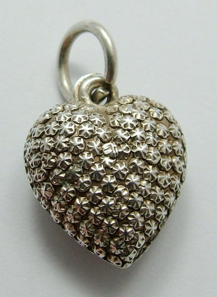Antique Edwardian Silver Puffed Repousse Heart Charm Antique Charm - Sandy's Vintage Charms