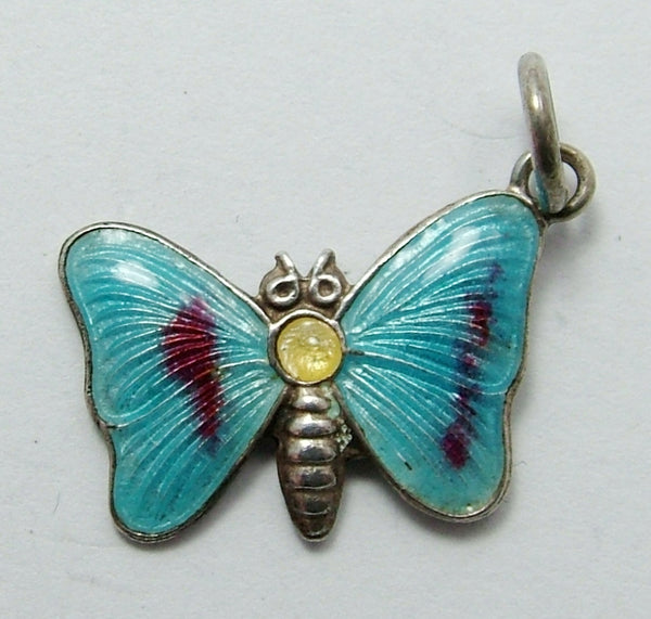 Vintage 1960's Silver & Turquoise Enamel Butterfly Charm Enamel Charm - Sandy's Vintage Charms