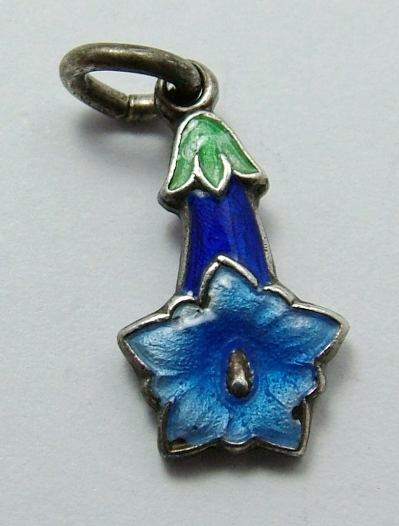 Small Vintage 1950's Silver & Blue Enamel Gentian Flower Charm Enamel Charm - Sandy's Vintage Charms