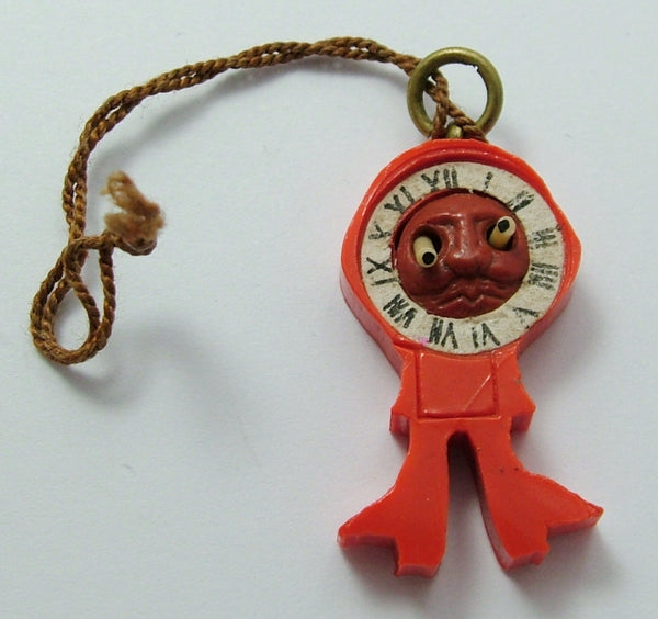 Vintage 1940's Plastic Japanese Clock Kobe Charm With Pop Out Eyes 1920s-1950s Charm - Sandy's Vintage Charms