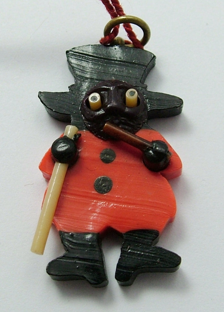 Vintage 1940's Plastic Japanese Man with Pipe & Stick Kobe Charm With Pop Out Eyes 1920s-1950s Charm - Sandy's Vintage Charms