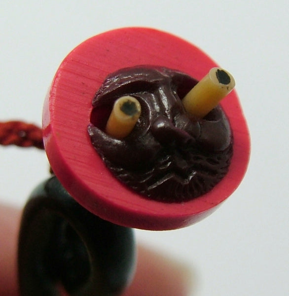 Vintage 1940's Plastic Japanese Trumpet Kobe Charm With Pop Out Eyes 1920s-1950s Charm - Sandy's Vintage Charms