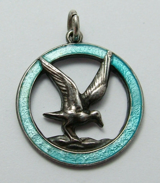 1960's Silver & Turquoise Enamel TLM Seagull Charm Enamel Charm - Sandy's Vintage Charms